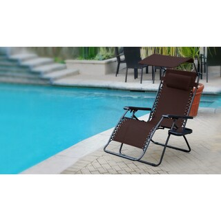 Jeco Olefin Zero Gravity Chair With Sunshade and Drink Tray