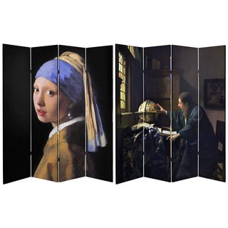 Double Sided Works of Vermeer 6-foot Tall Canvas Room Divider