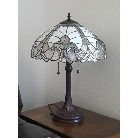 Amora Lighting Tiffany-style White Table Lamp