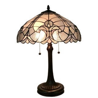 Amora Lighting Tiffany-style White Table Lamp