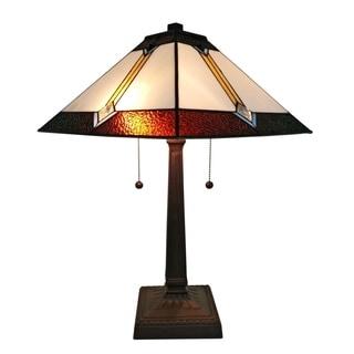 Amora Lighting AM223TL14 Mahogany Art Glass 21-inch Tiffany-Style Mission Table Lamp