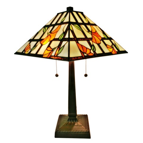 Amora Lighting Floral 21-inch Tiffany-style Mission Table Lamp
