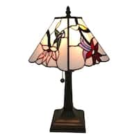 Amora Lighting Tiffany Style Hummingbird Floral Mission Table Lamp
