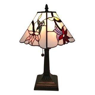Amora Lighting Tiffany Style Hummingbird Floral Mission Table Lamp