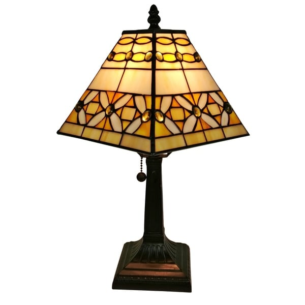 Amora Lighting AM207TL08 8-inch Jeweled Tiffany-style Mission Table Lamp