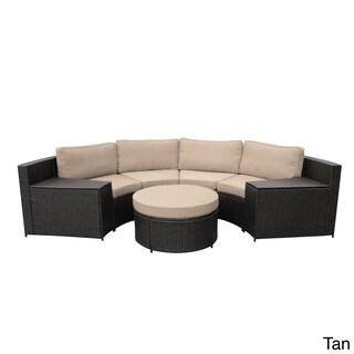 Cartagena Curved Modular Wicker Sofa With Cushions (Option: Tan)