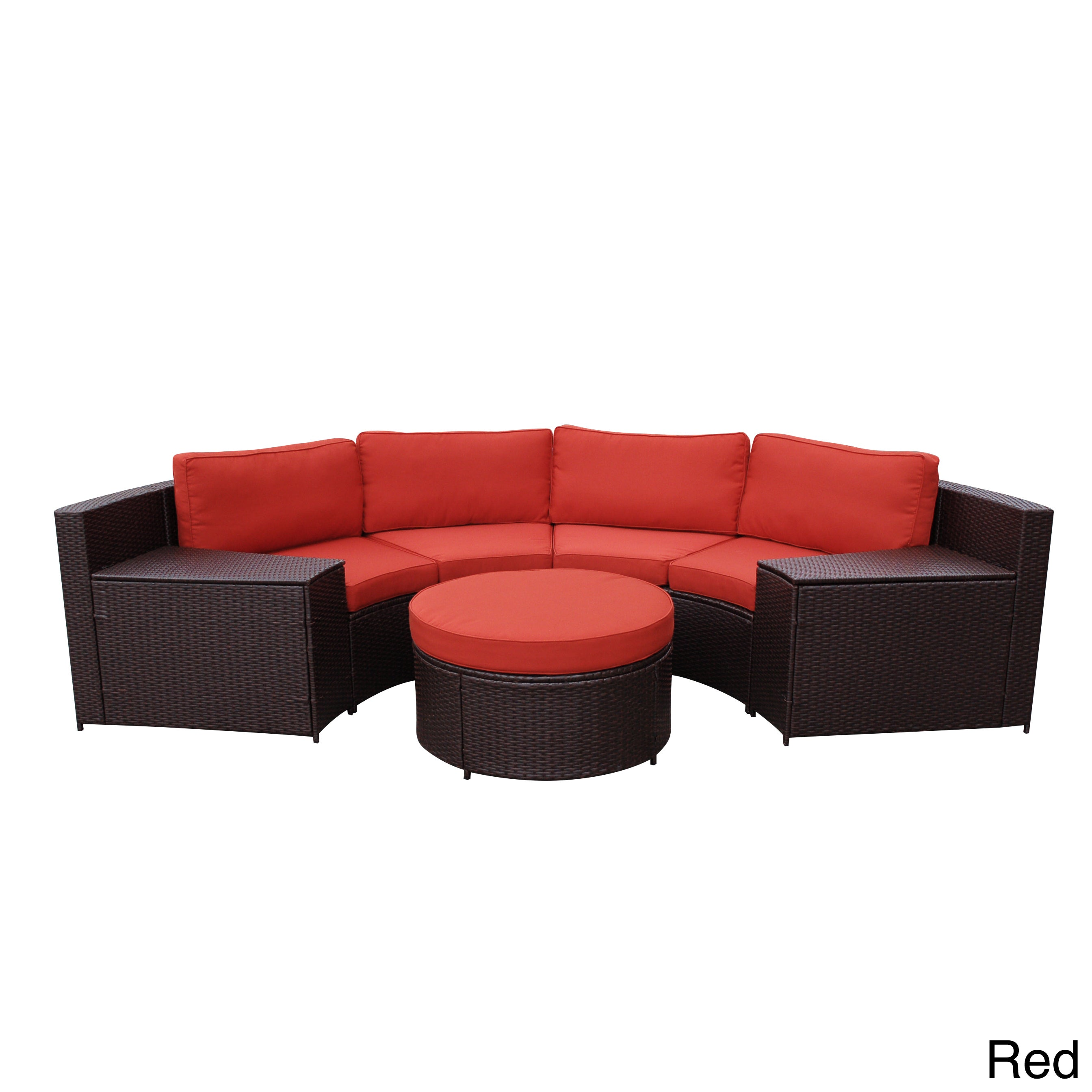 Jeco Cartagena Curved Modular Wicker Sofa With Cushions (...