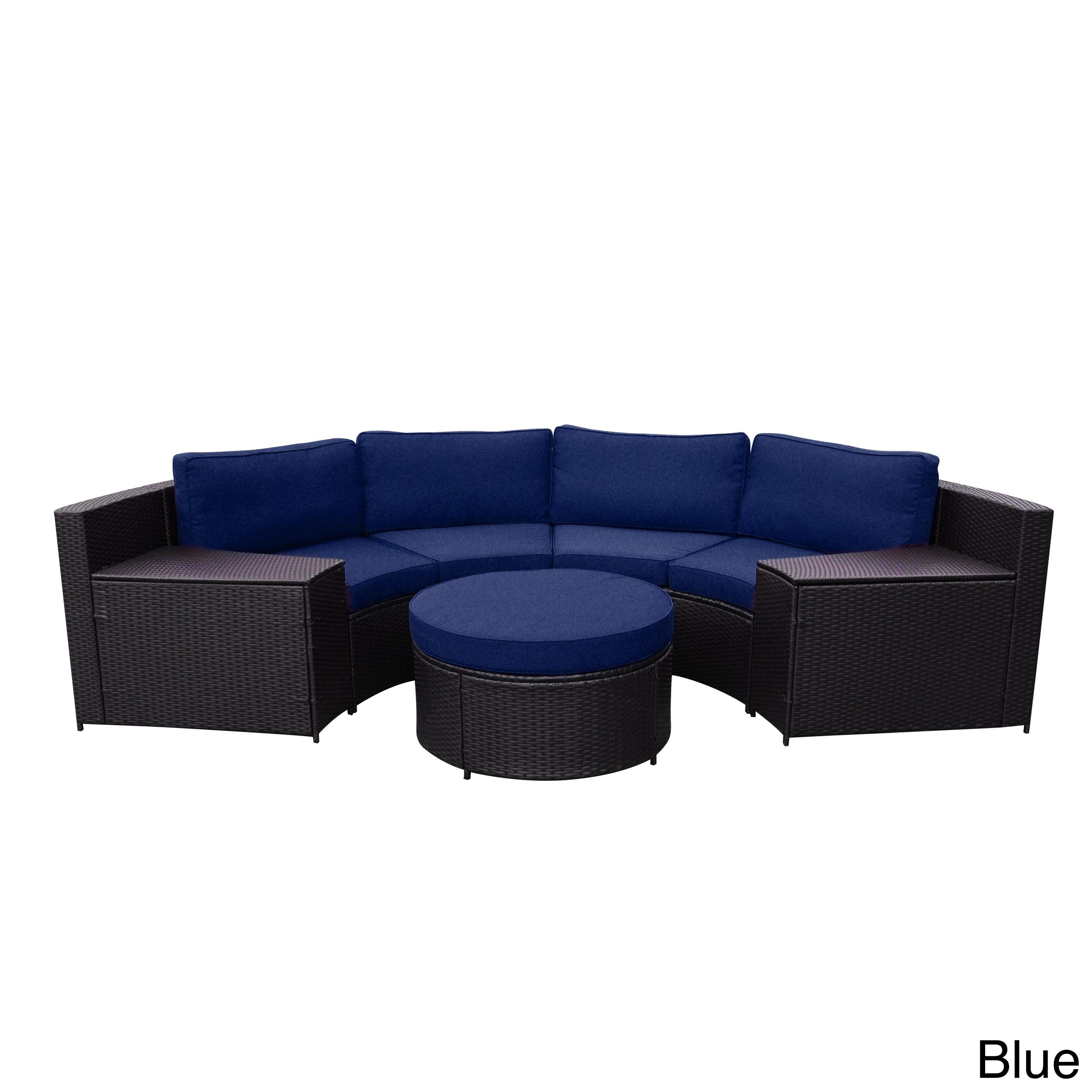 Cartagena Curved Modular Wicker Sofa With Cushions