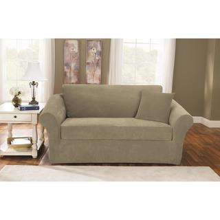 Sure Fit Stretch Pique Knit Separate Seat Loveseat Slipcover