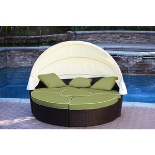 Jeco Resin Wicker All-weather 4-piece Sectional Daybed With Cushions