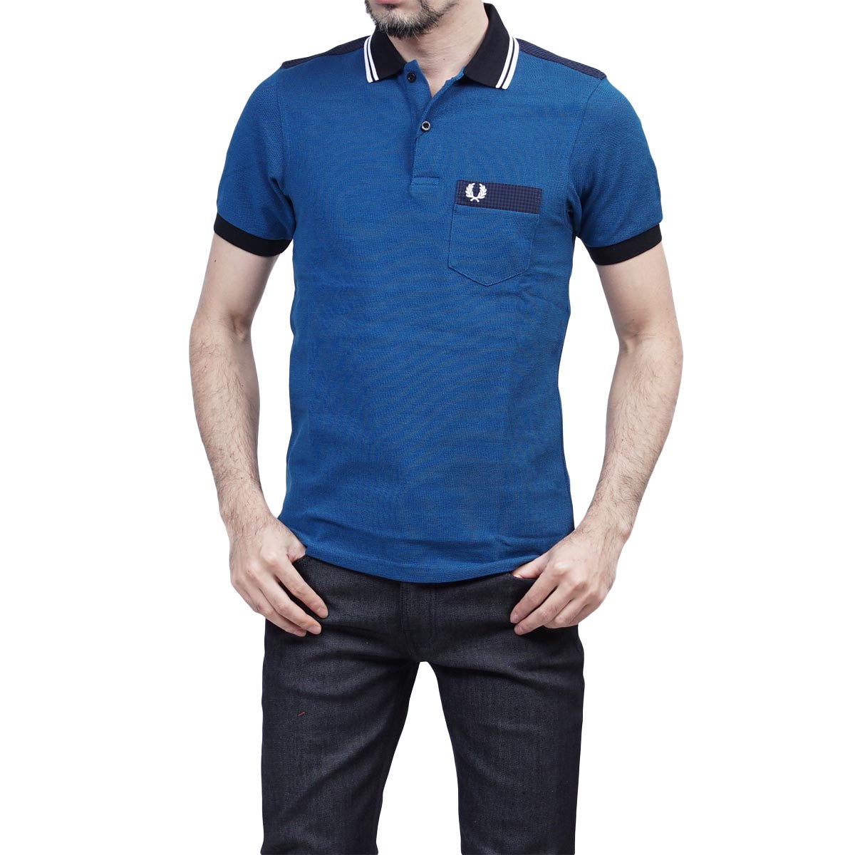 Fred Perry Men's Royal Blue Cotton Pique Gingham Oxford M...