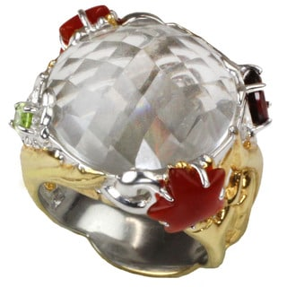 One-of-a-kind Michael Valitutti Check Top White Quartz with Star Shaped Carnelian/ Oval Garnet and Peridot Ring (Size 7)