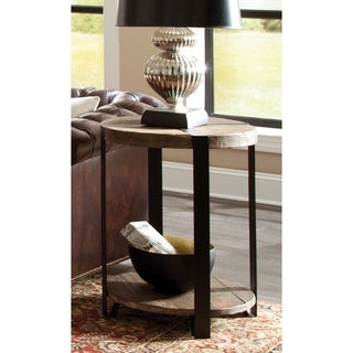 Carbon Loft Kenyon Natural Reclaimed Wood/Metal Rustic Round End Table