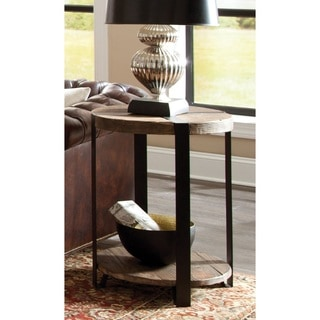 Modesto Natural Reclaimed Wood/Metal Rustic Round End Table