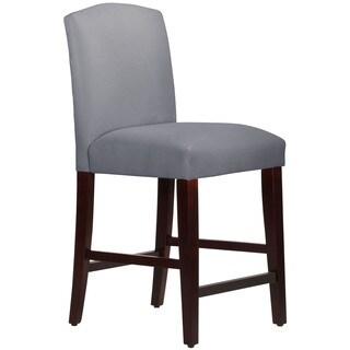 Skyline Furniture Camel Back Counter Stool in Velvet Steel Grey