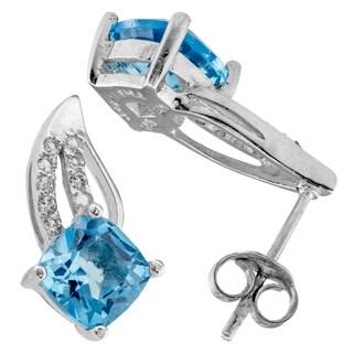 Haven Park Blue & White Topaz Swirl Stud Earrings