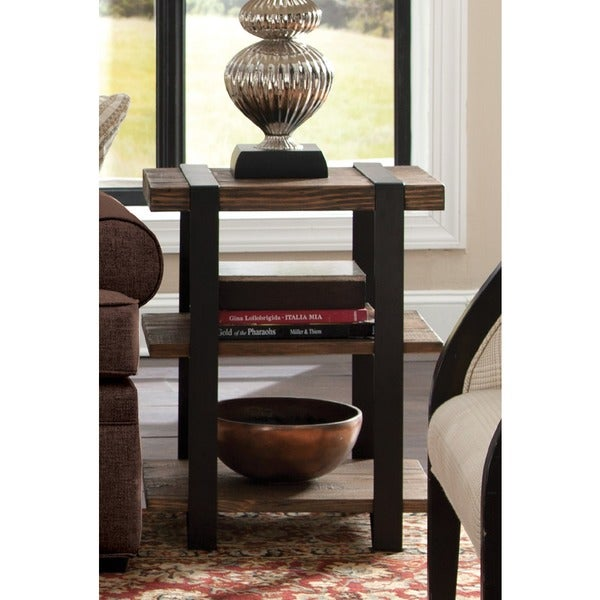Carbon Loft Kenyon Reclaimed Wood with Metal Straps 3-shelf End Table