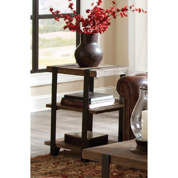 Wonderful Modesto Reclaimed Wood With Metal Straps 3 Shelf End Table   Free Shipping  Today   Overstock.com   18825246
