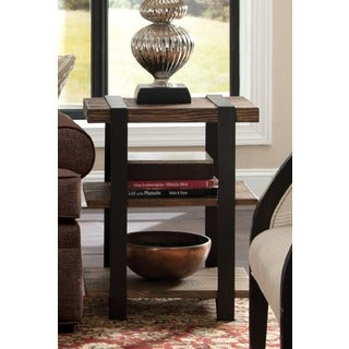 Modesto Reclaimed Wood With Metal Straps 3 Shelf End Table