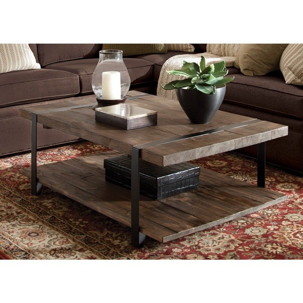 Modesto Natural Finished Reclaimed Wood Large Coffee Table