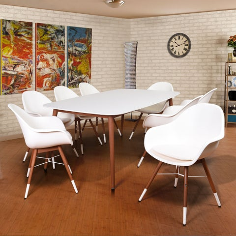 Amazonia Hawaii White Wood/Resin 9-piece Rectangular Indoor Dining Set