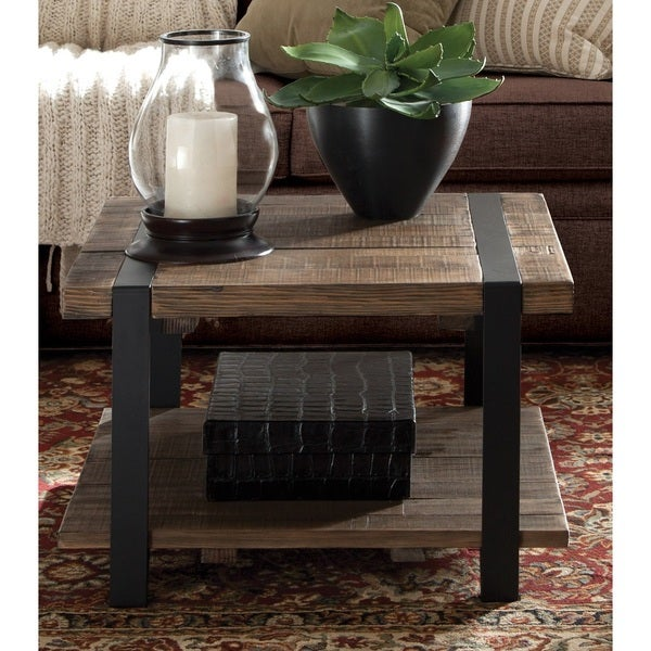 Modesto Cube Brown Wood Rustic Coffee Table Free