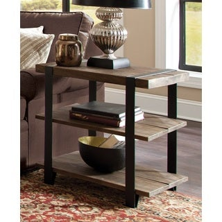 Modesto Rustic Natural Metal Strap And Reclaimed Wood 2 Tier End Table