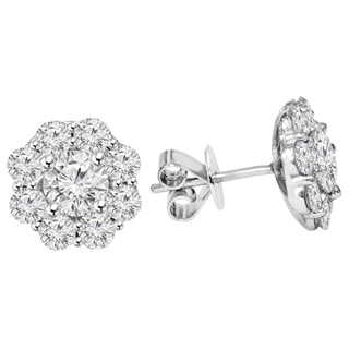 14k White Gold 2 1/2ct TDW Eco-Friendly Lab Grown Diamond Halo Studs (F-G, VS1-VS2)
