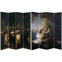Double Sided Works of Rembrandt 6-foot Tall Canvas Room Divider
