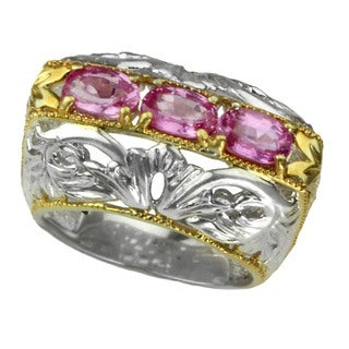 One-of-a-kind Michael Valitutti Three Stone Oval Pink Sapphire Ring (Size 7.25)
