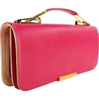Emilio Pucci Pink Calf Leather Women's Baguette Handbag
