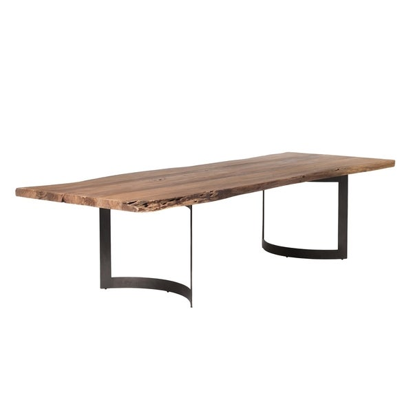 Aurelle Home Large Solid Rustic Live Edge Dining Table