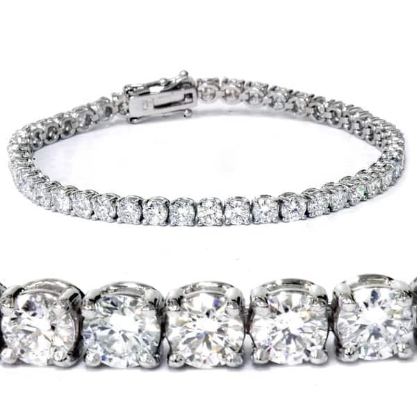 14K White Gold Toned Round Brilliant Lab Diamond Tennis Bracelet 7TCW