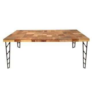 Aurelle Home Reclaimed Wood & Iron Dining Table - Brown - 17.2 x 18.5 x 30.9