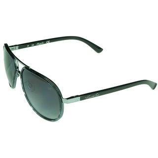 Kenneth Cole Unisex Black and Grey Plastic and Metal Aviator Sunglasses