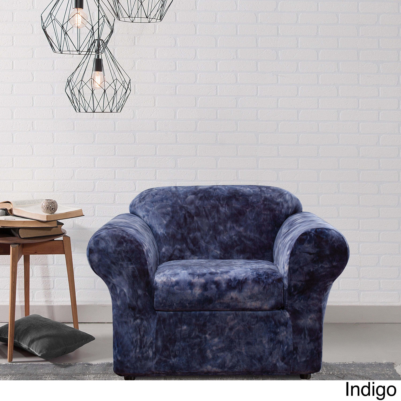 Remarkable Sure Fit 2 Piece Stretch Plush Tye Dye Chair Cover Creativecarmelina Interior Chair Design Creativecarmelinacom