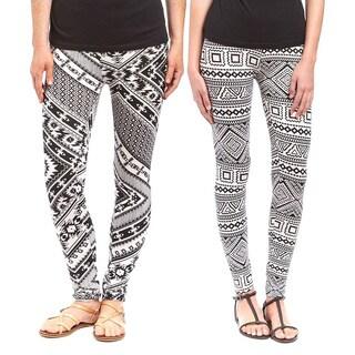 Riviera Women's Black/White Printed Polyester/Spandex Leggings (Pack of 2)