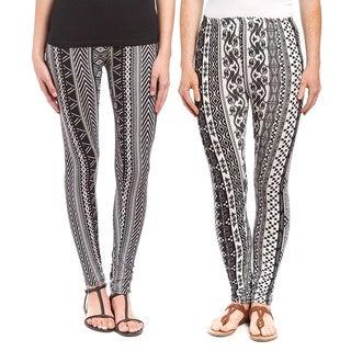 Rivera Black and White Printed Polyester/Spandex 2-piece Active Legging Set