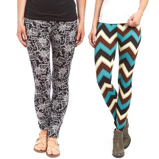 Women's Riviera Multicolor Polyester/Spandex Printed Active Legging (Pack of 2)