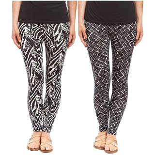Riviera Women's Multicolor Polyester and Spandex Printed Active Leggings (Pack of 2)
