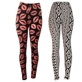 Riviera Women's Polyester and Spandex Printed Active Leggings (Pack of 2)