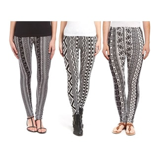 Pack of 3: Riviera Multicolor Polyester and Spandex Printed Active Leggings