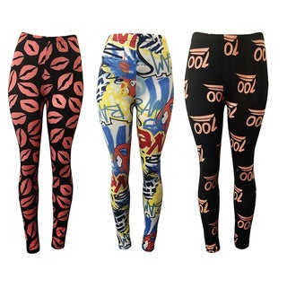 Pack of 3: Riviera Women's Printed Polyester and Spandex Active Legging Set