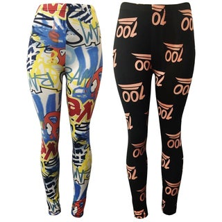 Riviera Women's Multicolored Polyester/Spandex Trendy Print Active Leggings (2 Pack)