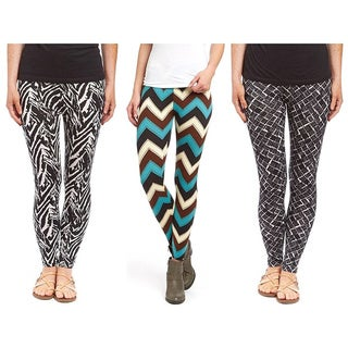 Pack of 3: Riviera Women's Printed Polyester/Spandex Active Legging Set