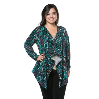 Haute Apparel Women's Plus Size Geometric Open Cardigan