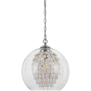 Elements 9105-1H White Glass and Crystal 1-light UL-listed Chandelier