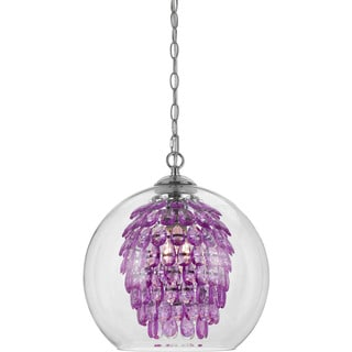 Elements 9100-1H Purple Metal/Crystal Glass Glitzy Chandelier