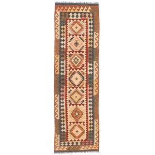 Handmade One-of-a-Kind Wool Mimana Kilim Runner (Afghanistan) - 2'8 x 9'7