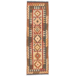 Herat Oriental Afghan Hand-woven Wool Mimana Kilim Runner (2'8 x 9'7)